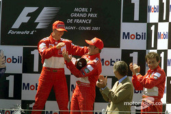 Michael Schumacher and Rubens Barrichello having fun
