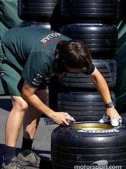 Tire preparation at Jaguar