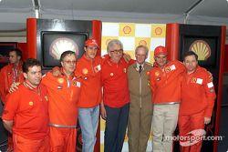 Past and present: Ian Galliard, Paolo Martinelli, Michael Schumacher, Ener Vecchi, Alastair Wadsworth, Rubens Barrichello and Jean Todt