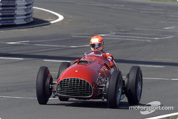 Michael Schumacher driving the Ferrari 375 F1 around Silverstone