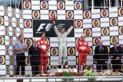 The podium: Michael Schumacher, Mika Hakkinen and Rubens Barrichello