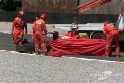 Accident at Roggia for Michael Schumacher