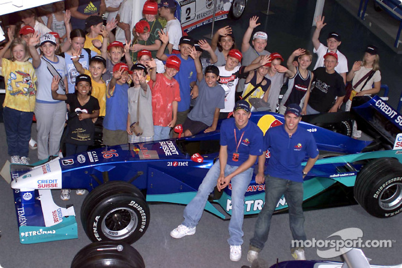 Inauguración de la nueva pista CARRERA en el Motorsport Museum Hockenheim: Kimi Raikkonen y Nick Heidfeld