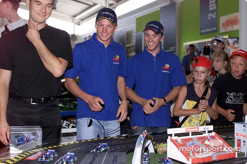 Inauguration, yeni CarRERA race track, Motorsport Museum Hockenheim: Kimi Raikkonen ve Nick Heidfeld