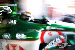 Eddie Irvine leaving garage