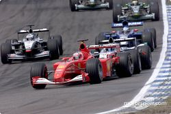 Rubens Barrichello in front of Mika Hakkinen and David Coulthard