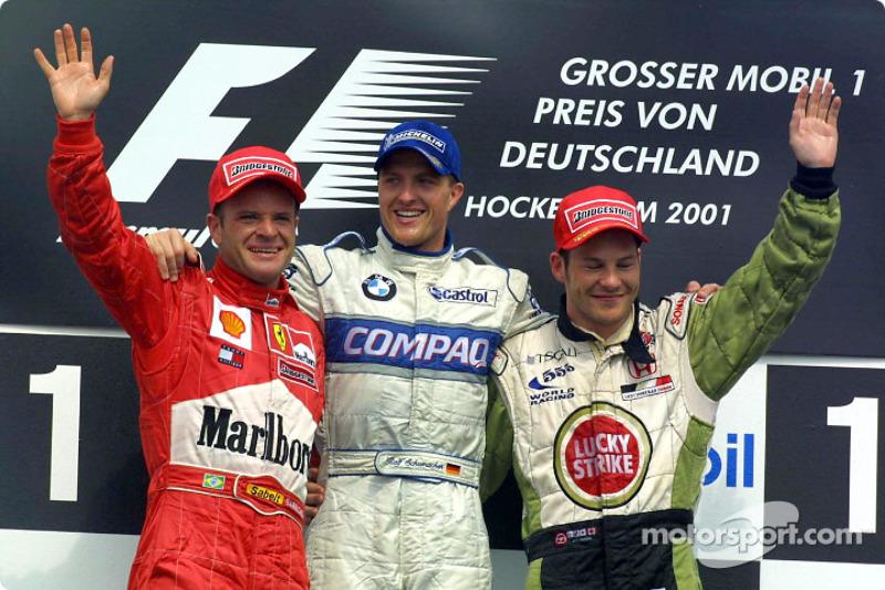 Podyum: Rubens Barrichello, Ralf Schumacher ve Jacques Villeneuve