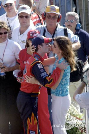 Jeff Gordon celebrating with his wife