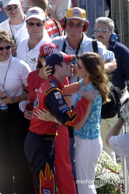 Jeff Gordon celebrating with his wife