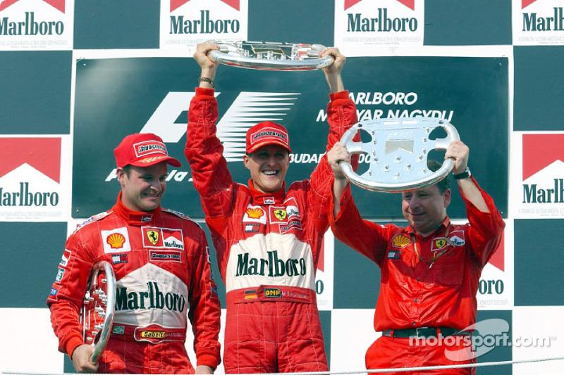 The podium: Rubens Barrichello, Michael Schumacher and Jean Todt