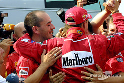 Michael Schumacher celebrating with Team Ferrari