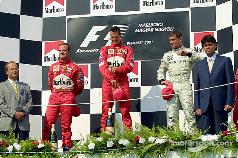 The podium: Rubens Barrichello, Michael Schumacher and David Coulthard