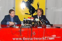 Conférence de presse sur le circuit de Fiorano : Jean Todt et Luca di Montezemolo