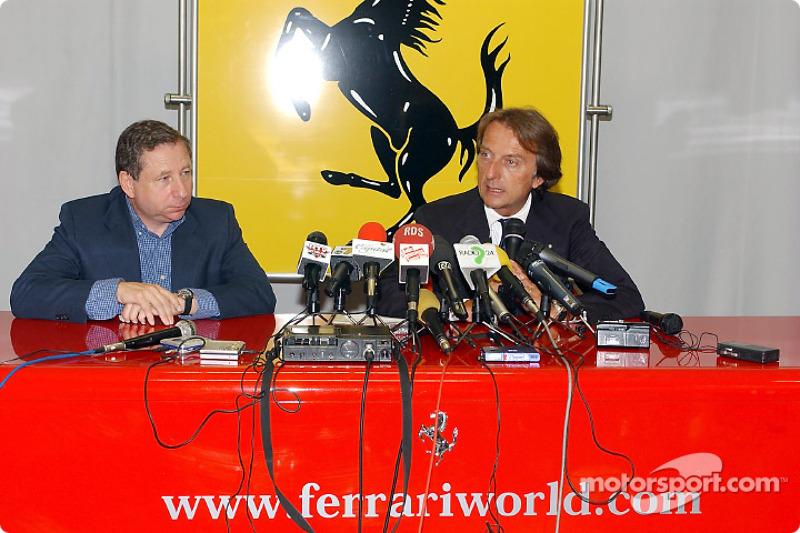 Conferencia de prensa en la pista Fiorano: Jean Todt y Luca di Montezemelo
