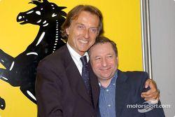 Conferencia de prensa en la pista Fiorano: Luca di Montezemelo y Jean Todt