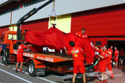 El Ferrari tras el accidente de Michael Schumacher