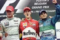 The podium: David Coulthard, Michael Schumacher and Giancarlo Fisichella
