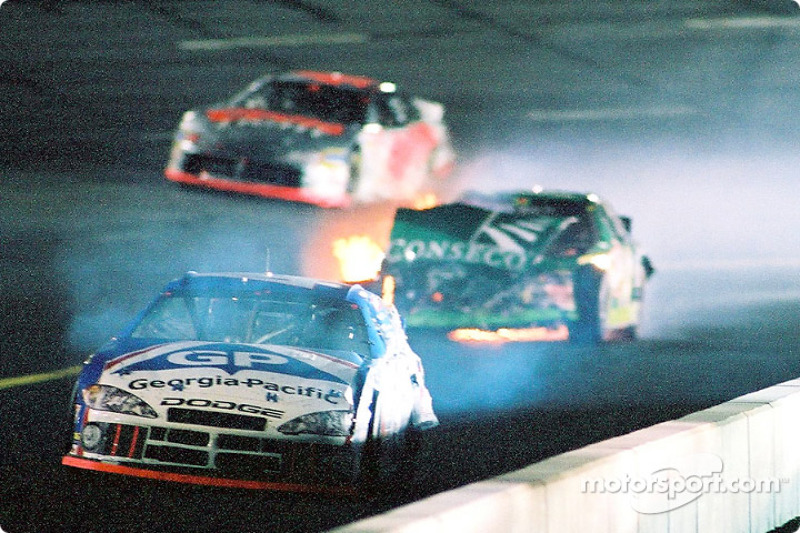 Buckshot Jones and Ron Hornaday roll to a stop after crashing into each other