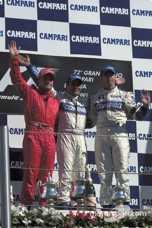 The podium: Rubens Barrichello, Juan Pablo Montoya and Ralf Schumacher