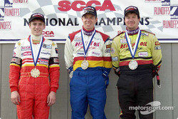 Race 11, Formula Mazda podium: National Champion Keith Roberts, 2nd Kevin Roberts and 3rd Jamie Bach