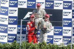 Mika Hakkinen, Michael Schumacher en David Coulthard