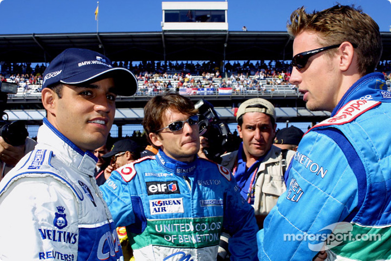 Juan Pablo Montoya, Giancarlo Fisichella en Jenson Button