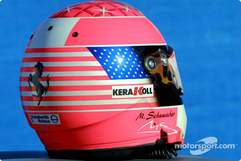 A special helmet for Michael Schumacher for the US GP