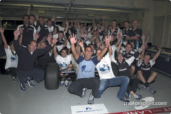 Team BMW Williams celebrating third place at the Constructors Championship