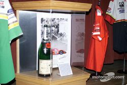 Victory Lane Champagne bottle from Dan Gurney and A.J. Foyt's 1967 victory at Le Mans; it was the first time champagne was used in a race care victory celebration
