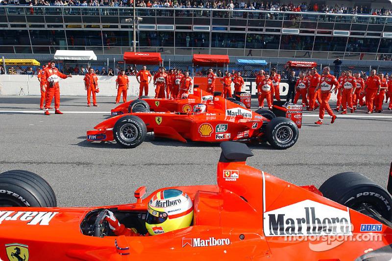 Luca Badoer, Rubens Barrichello y Michael Schumacher