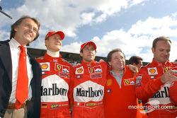 Luca di Montezemelo, Michael Schumacher, Luca Badoer, Jean Todt y Rubens Barrichello