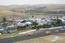 The opening lap with the Bob Stefanowicz / Craig Watkins Porsche Turbo, the Dan Jones / Kevin Buckler Porsche GT3 Cup, the Spencer Trennery / Spencer Trennery Sr Lola CSR, the Johannes Van Overbek / Rick Boysal T1 Corvette and the overall race winner GTP