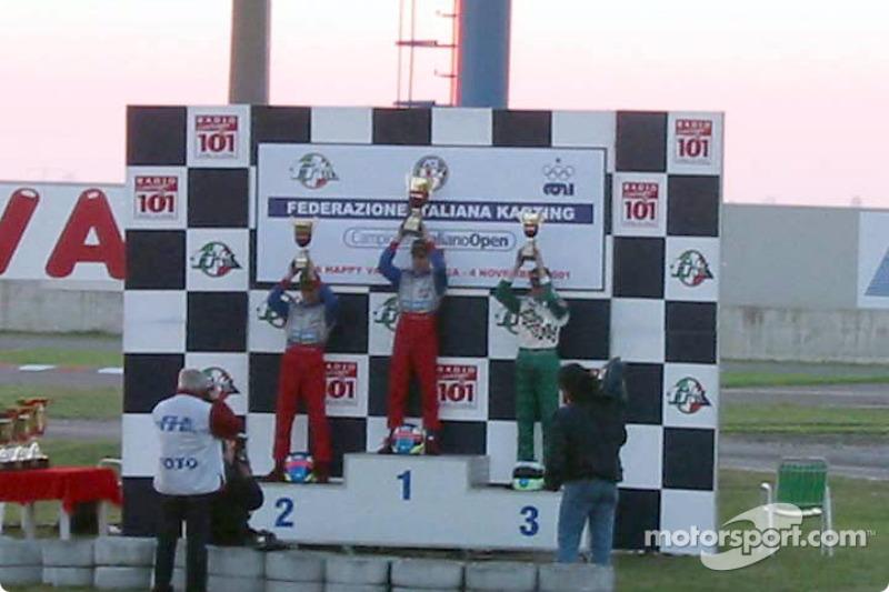 InterContinental A 100cc: podium avec le vainqueur Niki Sebastiani (Top Kart-Parilla), le deuxième Valentino Sebastiani (Top Kart-Parilla) and le troisième Stefano Albertini (Tony Kart-Vortex)
