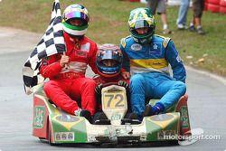 Rubens Barrichello, Tony Kanaan et Mario Haberfeld