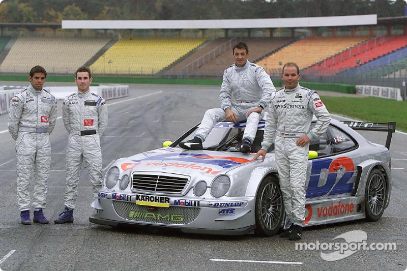 Jean Alesi, con Uwe Alzen, Danny Watts y Giuliano Morro