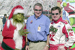 The mystery is solved: it's the Grinch who stole Jimmy Spencer's car_ Or maybe it's Joe Nemechek?