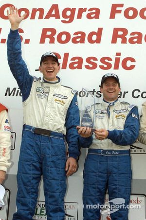 Oliver Gavin and Jon Field celebrate a win on Intersport Racing's home track