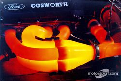 The Ford-Cosworth XF's headers glow as the engine approaches 16,000 rpm on the dynamometer