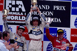 The podium: winner Thierry Boutsen with Riccardo Patrese and Andrea de Cesaris