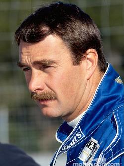 Nigel Mansell tijdens een testrit