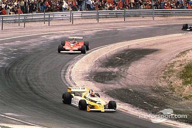 Jean-Pierre Jabouille in front of Gilles Villeneuve