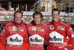 Rubens Barrichello, Luca Badoer y Michael Schumacher