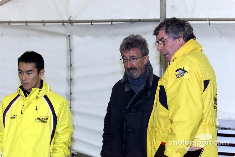Takuma Sato, Eddie Jordan y Gary Anderson