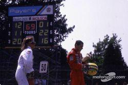 After the race: Ayrton Senna