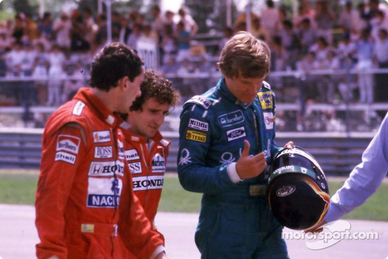 Yarış sonrası: Ayrton Senna, Alain Prost ve Thierry Boutsen