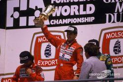 Podium: 1. Ayrton Senna, 2. Alain Prost, 3. Thierry Boutsen