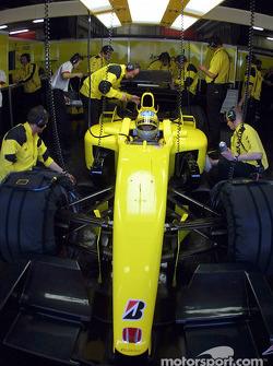 Takuma Sato en el garage