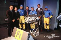 Jean-Jacques His, Mike Gascoyne, Jenson Button, Patrick Faure, Jarno Trulli, Flavio Briatore y Ferna