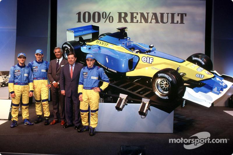 Jarno Trulli, Jenson Button, Flavio Briatore, Patrick Faure et Fernando Alonso