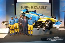 Jarno Trulli, Jenson Button, Flavio Briatore, Patrick Faure y Fernando Alonso